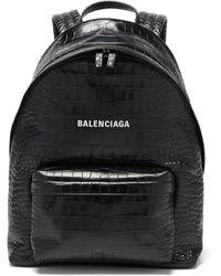 Balenciaga エブリデイ クロコダイルパターンレザー バックパック - ブラック