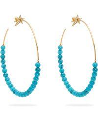 Diane Kordas - Créoles en diamants, or rose et perles turquoises - Lyst