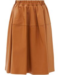 Marni レザースカート - ブラウン