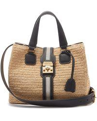 Mark Cross Riviera Leather & Gold-plated Raffia Tote Bag - Multicolour