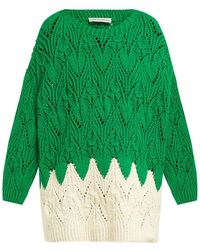 Vika Gazinskaya Hand-knitted Oversized Cotton-blend Sweater - Green