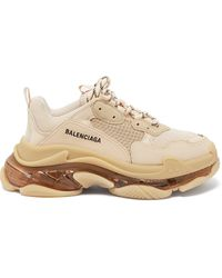 Balenciaga Triple S Faux-leather And Mesh Trainers - Natural
