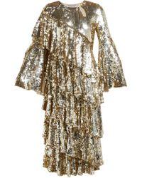 OSMAN Diaz Tiered Sequinned Midi Dress - Metallic