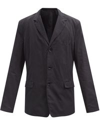 Lemaire Single-breasted Cotton Blazer - Black
