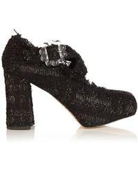 Simone Rocha Tweed Cross-strap Block-heels - Black