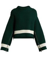 Alexander McQueen Zip-sleeved Step-hem Wool-blend Sweater - Green