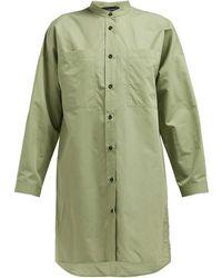 JOSEPH Rollo Cotton Blend Poplin Shirtdress - Green