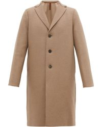 Harris Wharf London Single Breasted Wool Overcoat - Natural