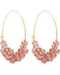Isabel Marant - Rosewood Bead Embellished Hoop Earrings - Lyst