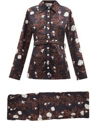 Emilia Wickstead Bianca Floral-print Cotton Pyjamas - Black