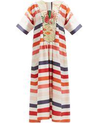 Rianna + Nina Striped Vintage Silk-poplin Maxi Dress - Multicolour