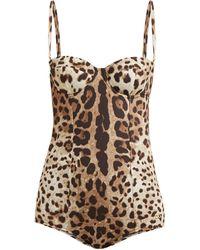 Dolce & Gabbana レオパードプリント バルコネットスイムウェア - ブラウン
