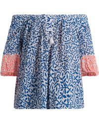 Thierry Colson | Evita Leaf-print Cotton Top | Lyst