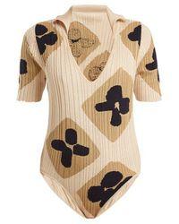 Jacquemus - V-neck Jacquard Ribbed-knit Cotton Body - Lyst