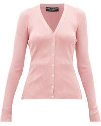Dolce & Gabbana V-neck Lamé Cardigan - Pink