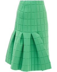 A.W.A.K.E. MODE Box-pleated Quilted-poplin Midi Skirt - Green
