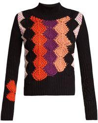 Peter Pilotto - Crochet-panel Ribbed-knit Cotton-blend Jumper - Lyst
