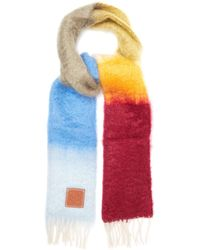 Loewe Striped Brushed Mohair And Wool Scarf - Multicolour