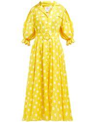 Gül Hürgel Floral Print Linen Midi Dress - Yellow