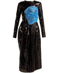 Preen By Thornton Bregazzi Stephanie Sequinned Panelled Midi Dress - Black