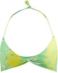 Ganni Abstract-print Recycled-fibre Jersey Bikini Top - Green