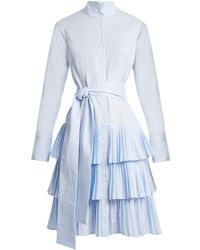 OSMAN | Bailey Tiered-skirt Cotton Shirtdress | Lyst