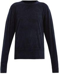 Les Tien ブラッシュドバック ベロアスウェットシャツ - ブルー