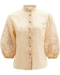 Zimmermann Brighton Broderie-anglaise Cotton-voile Blouse - Natural