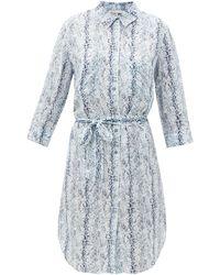 Heidi Klein ラッフル スネークプリント クレープシャツドレス - ブルー