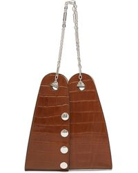 Lemaire Mini Double Folded Crocodile Effect Leather Bag - Brown