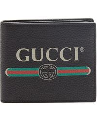 Gucci Print Leather Bi-fold Wallet - Black