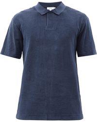 Sunspel Polo en coton éponge Riviera - Bleu