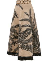 Le Sirenuse Livia Palm-embroidered Linen-blend Midi Skirt - Natural
