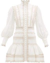 Zimmermann Robe courte en lin à ourlet volanté Super Eight - Blanc