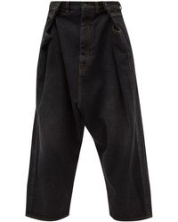 Loewe サルエル サイドボタン クロップドワイドジーンズ - ブラック