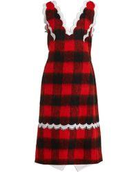Giambattista Valli V-neck Lace-trimmed Silk-georgette Dress in Red ... c823aa911