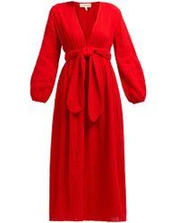 Mara Hoffman Luna V Neck Organic Cotton Gauze Midi Dress - Red