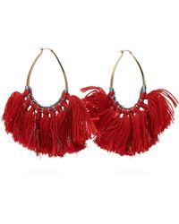 Missoni Tasseled Lurex Hoop Earrings - Red