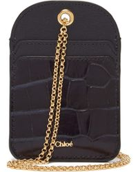 Chloé Walden Necklace Chain Leather Cardholder - Blue