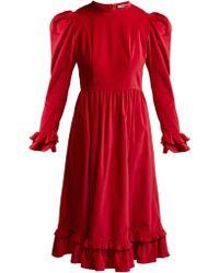 BATSHEVA Ruffle Velvet Prairie Midi Dress - Red