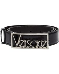 Versace - Black Logo Buckle Leather Belt - Lyst