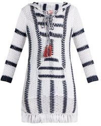 Anna Kosturova - Cape Cod Striped-crochet Hooded Dress - Lyst