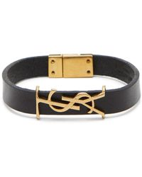 Saint Laurent Ysl Monogram-plaque Leather Bracelet - Black