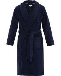 Calvin Klein Logo-jacquard Cotton-terry Bathrobe - Blue