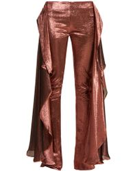 Paula Knorr - Relief High Rise Ruffled Silk Blend Lamé Trousers - Lyst