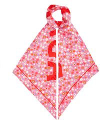 Balenciaga ロゴジャカード フローラル シルクスカーフ - ピンク