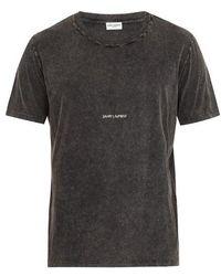 Saint Laurent - Logo-print Distressed Cotton T-shirt - Lyst