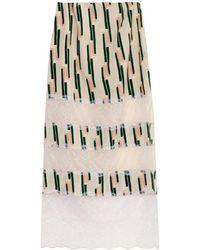 Wes Gordon - Lace-panelled Crepe Midi Skirt - Lyst