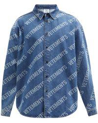 Vetements ロゴ デニムシャツ - ブルー