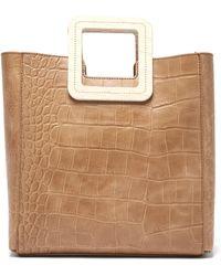 STAUD Shirley Crocodile Embossed Leather Bag - Brown